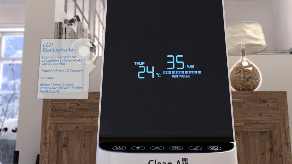 Dieser effektive Luftbefeuchter mit Ionisator, Kalt- und Warmwasserzerstäuber regelt automatisch die optimale Luftfeuchtigkeit und verbessert die Luftqualität.
