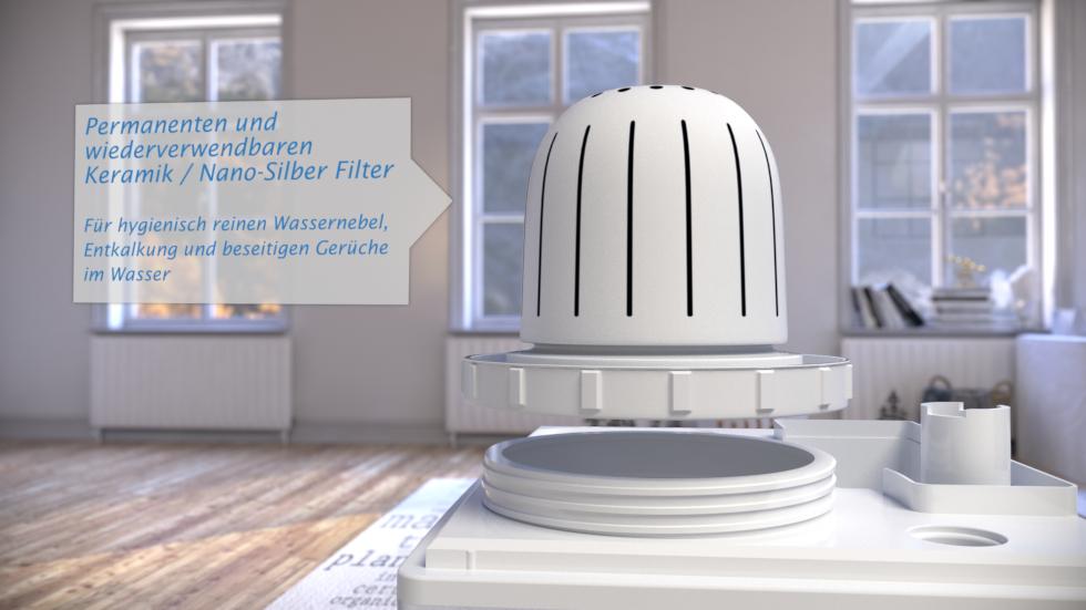 Ultraschall Luftbefeuchter CA-604 mit Ionisator und Eleganten Design sorgt für Verbesserung der Luftqualität in Großräume bis 55m².