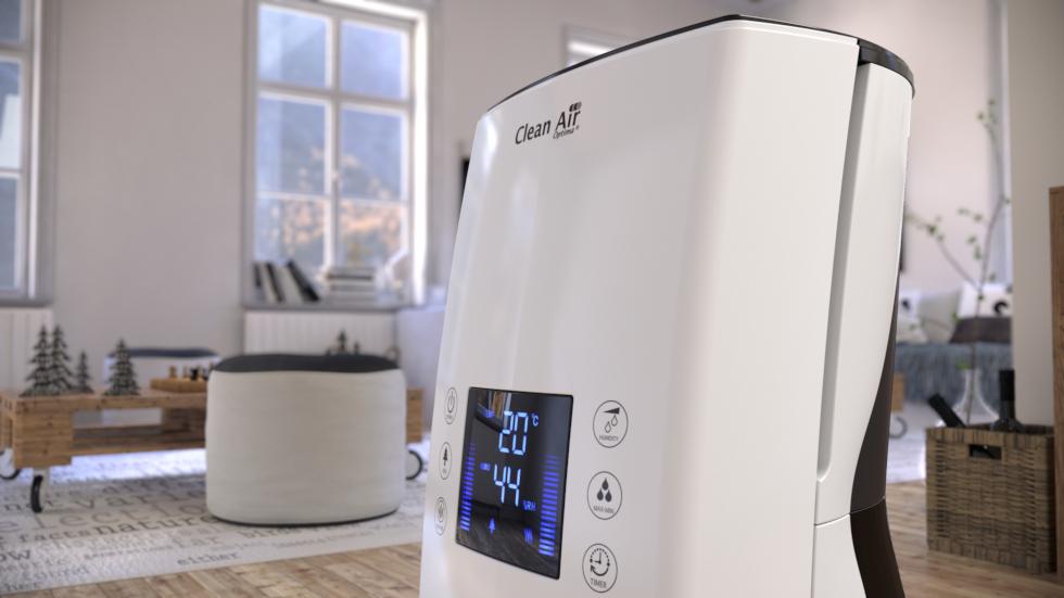 Kombinierte kalte und warme Ultraschall Luftbefeuchtung mit Luftreinigung durch Ionisation.